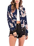 Women's Floral Bomber Jacket - Cute Front Zip Up...