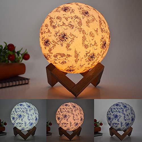 Lampada da tavolo creativa Explosion lampada da tavolo per bambini lampada da regalo creativa lampada dipinta di porcellana blu e bianca led3d, 15cm touch modelli colorati, 1.5W