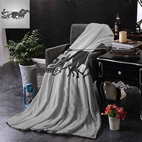 ZSUO bont deken Hellenic Man op de Chariot getrokken door Romeinse paarden vroege leeftijd Equestrian Image voor bed & bank Sofa Easy Care