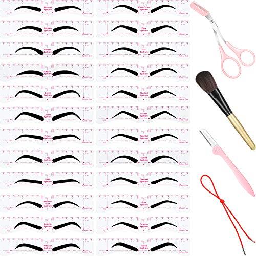 29 Stücke Augenbrauen Schablonen Satz enthält 24 Stücke Wiederverwendbare Augenbrauen Schablone mit Riemen, Rasier Apparat, Augenbrauen Trimmer Schere, Makeup Pinsel und Aufbewahrungsbox