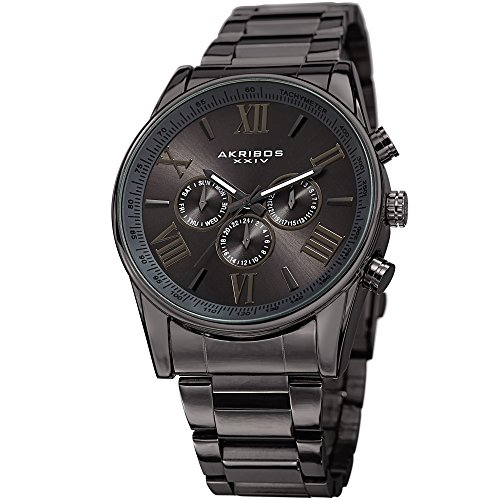 Akribos Multi-Function Stainless Steel Bracelet Watch - Three Hand Movement with Two Time Zones and Date Complication - Men