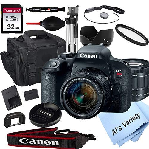 Canon EOS Rebel T7i DSLR Camera with 18-55mm f/3.5-5.6 STM Zoom Lens + 32GB Card, Tripod, Case, and More (18pc Bundle)