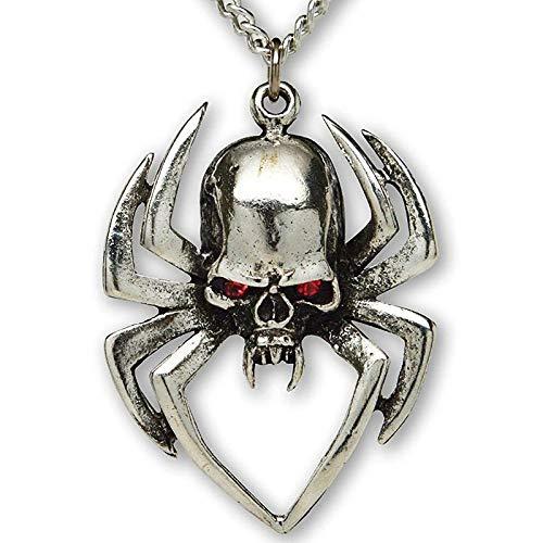 Halskette Edelstahl Gothic Spider Skull Anhänger Anhänger Halskette Herren Lokomotive Punk Schmuck