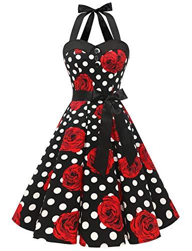 Dressystar Damen Vintage 1950er Retro Cocktailkleid Rockabilly Neckholder Faltenrock Swing Kleider C-schwarz Weiß Rose XL