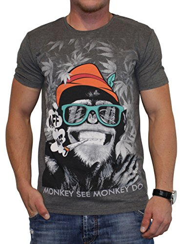 40by1, Herren T-Shirt, Smoking Monkey, Anthra Melange, 40/1-12-008, GR XXL