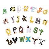 Parche para planchar, 26 unidades, diseño de alfabeto de la A a la Z, diseño de animal, para planchar o coser, apliques para vaqueros, chaquetas, morrales., Estilo 1., 4 cm