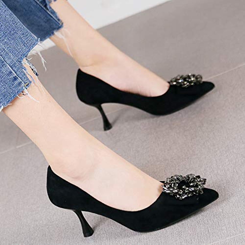 HRCxue Pumps Einzelne Schuhe des Retro- rotbraunen Spitzen Stilettfersen-weiblichen Temperamentrhinestone flachen Munds