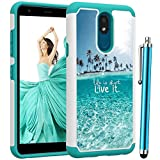 Voanice for LG Aristo 4 Plus Case/LG Prime 2 Case/LG Tribute Royal Case/LG Escape Plus Case/LG Arena 2 Case/LG Journey LT Case,Shockproof Hybrid Heavy Duty Rugged Dual Layer Protective-Teal Sea