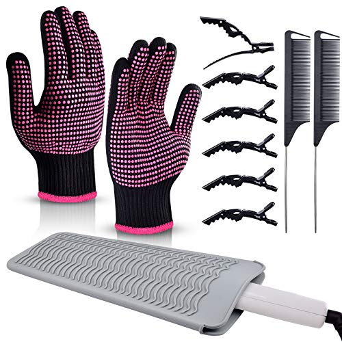 Heat Resistant Gloves,Morgles 2Pcs Professional Heat Proof Glove Resistant Silicone Mat Pouch 6pcs Hair Clips and 2pcs Styling Comb for for Curling Iron Wands Flat Iron