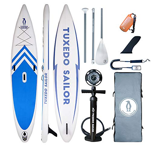 "Tuxedo Sailor Inflatable Stand Up Paddle Board(12'6""x31 x6) All Skill Levels Everything Included with Stand Up Paddle Board, Adj Paddle, Pump, ISUP Travel Backpack, Leash, Repair Kit, Waterproof Bag"
