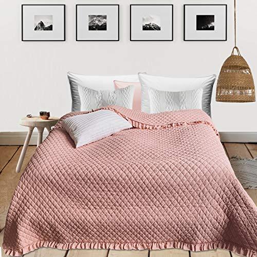 HOMELEVEL Tagesdecke Bett & Sofaüberwurf 220cm x 200cm Bettüberwurf Sofa Tages Decken Betthusse XXL Decke Überwurf Altrose Rüschen