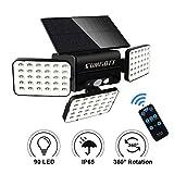 SUMGOTT Luz solar para exteriores con control remoto, luz de seguridad con sensor de movimiento, foco LED 90, luz de pared a prueba de agua IP65, adecuada para balcón, jardín, terraza, patio (1PCS)