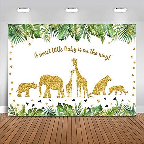 Avezano 2.1*1.5m Safari Baby Shower Telón de fondo Hoja verde Decoración dorada Wild One para Jungle Animal Theme Niños Cumpleaños Fotografía Fondo Postre Mesa Banner