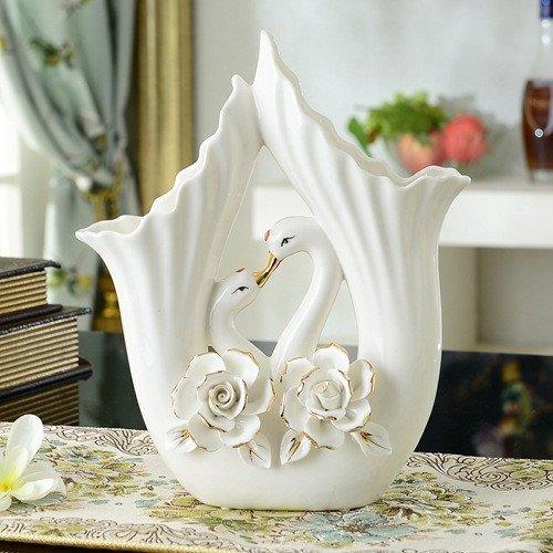 ZHFC-vase en porcelaine de jade fleurs part boutique ameublement de maison haut de gamme fleur or cygnes accessoires,pure fleur blanche