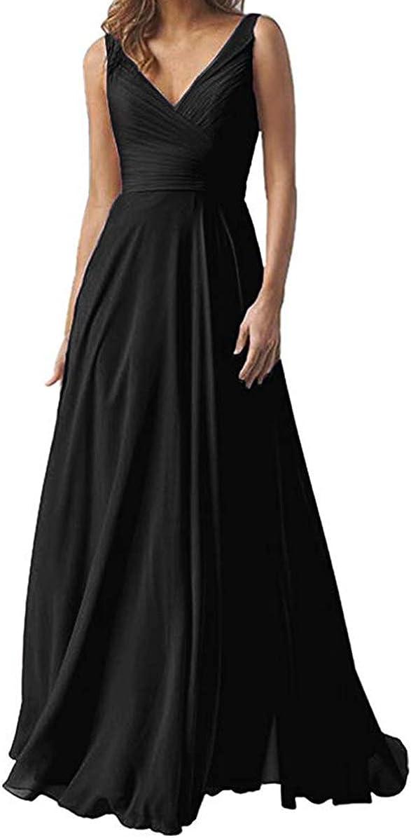 KaBuNi Long Chiffon Bridesmaid Dresses Double 価格 交渉 送料無料 V Neck 安全 Wedding Par