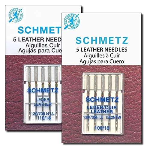 Leather Sewing Machine Needles Variety Package, Sizes 100/16 and 110/18, Perfect for Leather, Artificial Leather, Compatible with Brother, Singer, Kenmore, and Bernina Home Machines by Apartment ABC