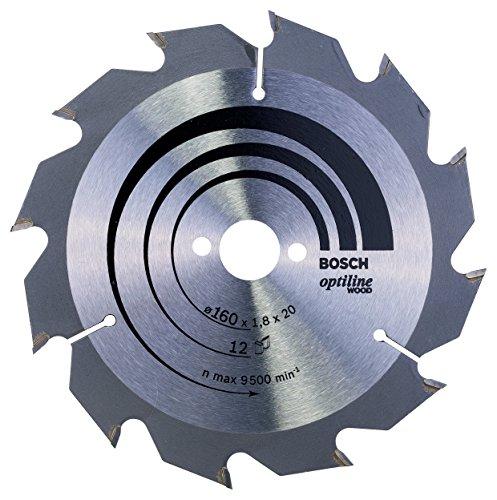 Bosch Professional Kreissägeblatt Optiline Wood (für Holz, 160 x 20 x 1,8 mm, 12 Zähne, Zubehör Kreissäge)