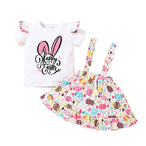 Toddler Baby Girl Easter Outfit Happy Easter Bunny Ruffle T-Shirt Top and Rabbit Suspender Skirt Dress Summer Clothes Set (Happy Easter-White, 2-3T)