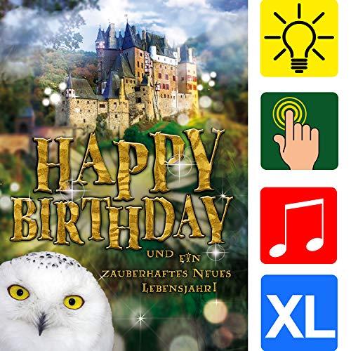 bentino Geburtstagskarte XL mit Musik, Licht und BERÜHR-Funktion, per Knopfdruck den Zauberstab zum Leuchten bringen, DIN A4 Set mit Umschlag, Glückwunschkarte