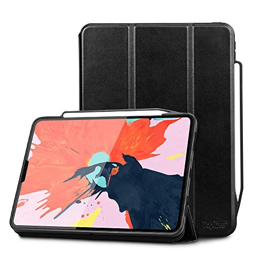 Toplive Luxury Cowhide Genuine Leather iPad Pro 12.9 Case (2018), [Support Apple Pencil Charging],Smart Stand Folio Case Cover for iPad Pro 12.9 3rd Generation with Auto Sleep Wake Function,Black