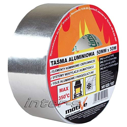 1x 350°C Alu Aluband Aluminium Klebeband selbstklebend Kleberolle 50mm/25m oder 50mm/50m (50mm/50m)