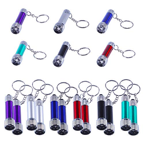 Antner 18pcs Mini Flashlights Keychain 5 Bulbs LED Keychain Toy for Kids Party Favors, Camping, Travel, Home or Office(Battery Included)