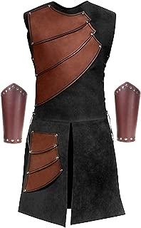 Men's Side Laces up Knight Viking Pirate Armor Long Waistcoats Vests Long Bracer Costume Set