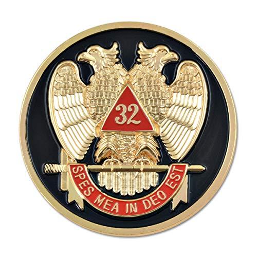 32nd Degree Scottish Rite Round Masonic Auto Emblem - [Black & Red][3'' Diameter]