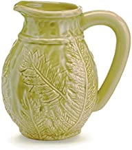 The Bridge Collection Embossed Leaves Green Ceramic Pitcher