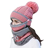 3pcs/Set Fashion Women Winter Knitted Hat Thickened Woolen Cap with Warm Mask and Neck Scarf (Pink)