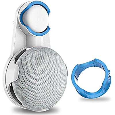 Olixar Wall Mount for Google Home Mini or Nest Mini Holder (2nd gen), Plug Hanger into any UK, EU, US Socket, Kitchen Bedroom Bathroom - Hide Cord, Neat and Tidy, Lift Off Surfaces - White by Olixar