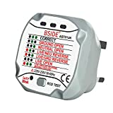 BSIDE AST01UK Socket Tester Automatic Electric Circuit Polarity Detector Wall Plug with Neutral Live Earth...