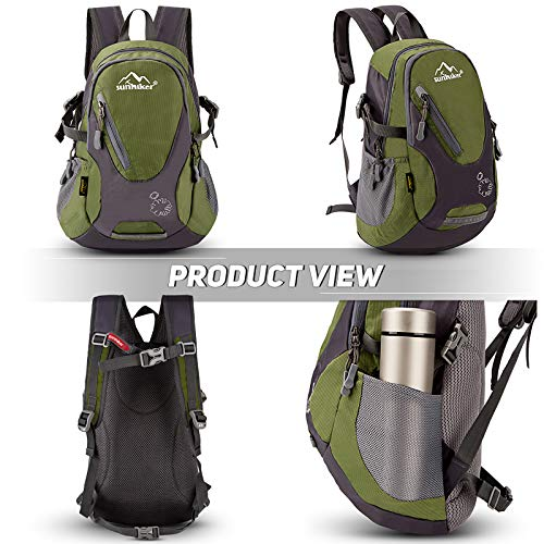 Sunhiker Cycling Hiking Backpack Water Resistant Travel Backpack Lightweight SMALL Daypack M0714 (Navy Green)