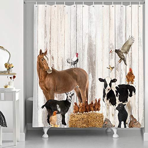 NYMB Duschvorhang mit Bauernhoftieren, rustikaler Holzwand, Bauernhof, kleine Tiere, Pferd & Kuh, Duschvorhänge aus Bauernhofstoff, Badezimmerdekorationen, Badvorhänge mit Haken, 175 x 178 cm