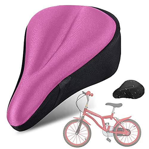 Kids Gel Bike Seat Cushion Cover, Memory Foam Child Bike Seat Cover Extra Soft Bicycle Saddle Pad, Breathable Cycling Kids Bicycle Seat Cover with Water&Dust Resistant Cover