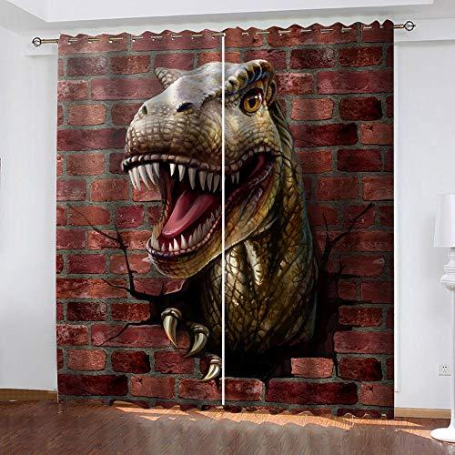 LWXBJX Cortinas Opacas Salon Habitación Aislantes Térmicas - Dinosaurio estéreo de Pared...