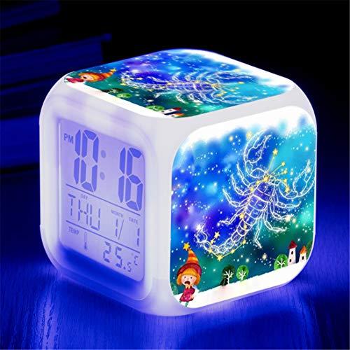 GJ688 Doce Constelaciones Color Color Color Cambiando Reloj Despertador de niños con luz LED Luz de Noche Luminoso Dormitorio Luminoso Wake Up Reloj de Alarma Regalo Niño,Scorpio