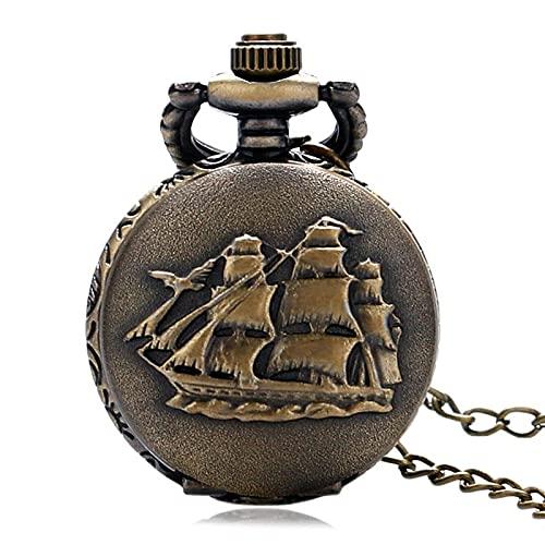 XXCHUIJU Reloj de Bolsillo Retro, Vintage Bronce 3D diseño de velero de Cuarzo Reloj de Bolsillo con suéter Collar Cadena Retro Colgante Reloj Hombres Mujeres Regalo