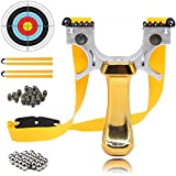 COOY Slingshot- Professional Upgraded Light Slingshot for Hunting, with 2 Rubber Bands and 2 Mechanical Sights, Adult Outdoor Catapult Set Yellow…