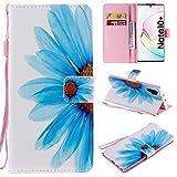 Miagon Flip PU Leder Schutzhülle für Samsung Galaxy Note 10 Plus,Bunt Muster Hülle Brieftasche Case Cover Ständer mit Kartenfächer Trageschlaufe,Blau Blume