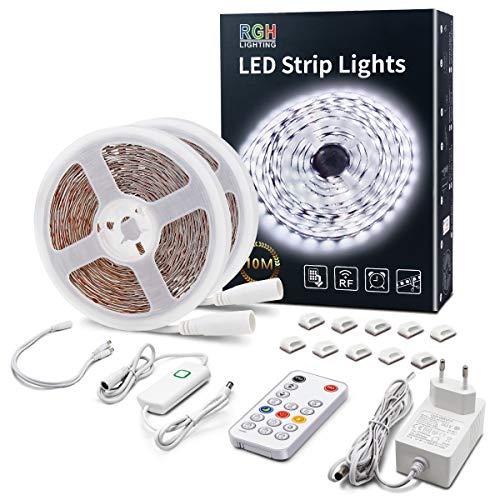 Tira LED de luz blanca fría, 10 m, regulable, con mando a distancia RF, 6500 K, ultraclara, con modo de temporizador, banda de luz LED, kit completo para salón, dormitorio, cocina, espejo
