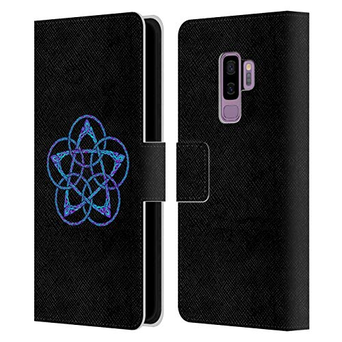 Head Case Designs Officially Licensed Beth Wilson Blue & Purple Circles Celtic Knot Stars Leather Book Wallet Case Cover Compatible with Samsung Galaxy S9+ / S9 Plus