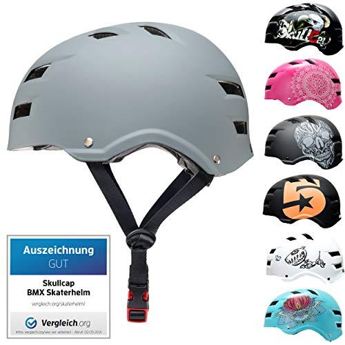 SkullCap BMX & Casco per Skater Casco - Bicicletta & Monopattino Elettrico, Design: Just Gray, Taglia: M (55-58 cm)