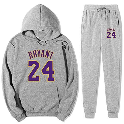 TIANYO Juego de chándal para hombre Lakers 24# Kobe con capucha y parte superior para correr, gimnasio, baloncesto, ropa deportiva, sudadera con capucha y pantalones deportivos de moda, color gris 2-L