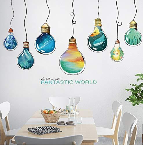 Stickers Muraux Créativité Personnalité Chambre Chevet Décoration Chambre Salon Mur Disposition Ampoule Monde