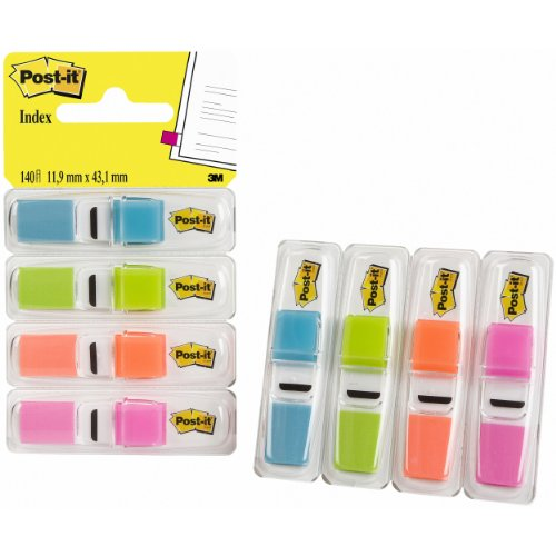 Post-It Index Small - Dispensador de índices adhesivos (4 unidades, 140 índices, 11.9 x 43.1 mm), colores surtidos