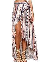 ForeMode Women Boho Print High Waist Side Wrap Bohemian Asymmetric Hem Maxi Long Skirt One Size (Orange Blue Flower)
