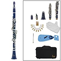 Andoer 木管楽器 セット ソプラノ クラリネット 8色選択 17キー B♭フラット ABS 10リード マウスピース/コルクグリース/手袋/リードケース/ドライバーなど付き 初心者/音楽愛好者対応