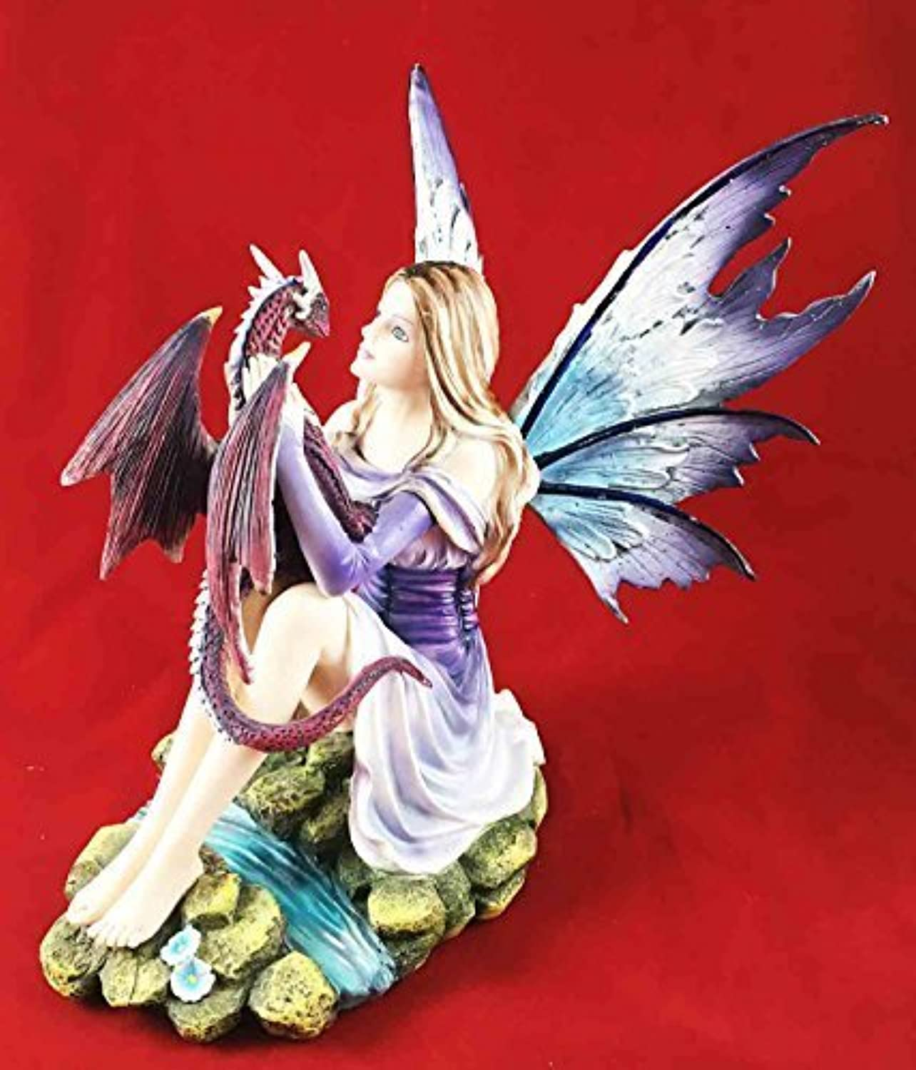 Beautiful lila Twilight Fairy With Pet Midnight Storm Dragon Figurine Statue by Gifts & Decor