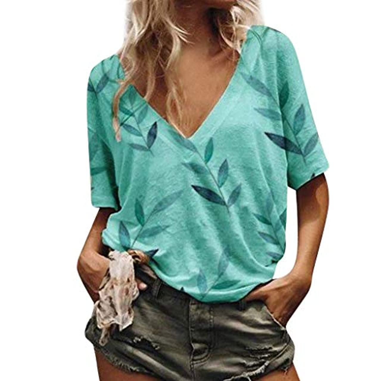 Women's Blouse Casual Cotton Linen Short Sleeve Floral Print Deep V Neck Loose Tops